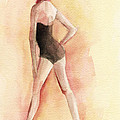 Brown Vintage Bathing Suit 1 Fashion Illustration Art Print by Beverly Brown Prints