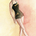 Brown Vintage Bathing Suit 2 Fashion Illustration Art Print by Beverly Brown Prints