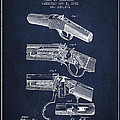 Browning Rifle Patent Drawing From 1921 - Navy Blue by Aged Pixel
