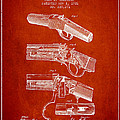 Browning Rifle Patent Drawing From 1921 - Red by Aged Pixel
