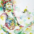 Bruce Springsteen Playing The Guitar Watercolor Portrait.2 by Fabrizio Cassetta