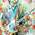 Bruce Springsteen Playing The Guitar Watercolor Portrait.3 by Fabrizio Cassetta