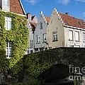Bruges Gabled Homes Along Waterway by Juli Scalzi