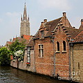 Bruges Houses With Bell Tower by Carol Groenen