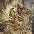Brunnhilde On Grane Leaps by Arthur Rackham