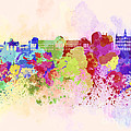 Brussels Skyline In Watercolor Background by Pablo Romero