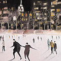 Bryant Park Ice Skaters New York At Night by Beverly Brown