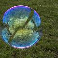 Bubble On Grass With St.johns Bridge by Jean Noren