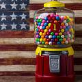 Bubblegum Machine And American Flag by Garry Gay