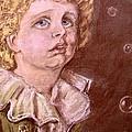 Bubbles Pastel Portrait by Joan-Violet Stretch