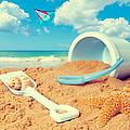 Bucket And Spade On Beach by Amanda Elwell