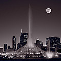 Buckingham Fountain Nightlight Chicago Bw by Steve Gadomski