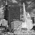 Buckingham Fountain Sears Tower Black And White by Christopher Arndt