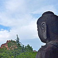 Buddha Statue In Red Rocks Az by Victoria Lakes