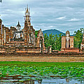 Buddhas At Wat Mahathat In 13th Century Sukhothai Historical Park-thailand by Ruth Hager