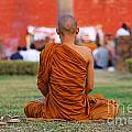 Buddhist Monk At Lumbini In Nepal by Robert Preston