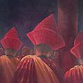 Buddhist Monks, Bhutan, 2012 Acrylic On Canvas by Lincoln Seligman