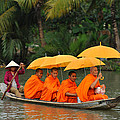 Buddhist Monks In Mekong River by Dung Ma