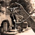 Buiatti Memorial Marker Detail Monumental Cemetery Sepia by Sally Rockefeller
