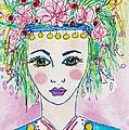 Bulgarian Follk Girl Art by Rosalina Bojadschijew