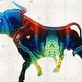 Bull Art - Love A Bull 2 - By Sharon Cummings by Sharon Cummings
