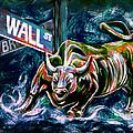 Bull Market Night by Teshia Art