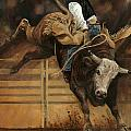 Bull Riding 1 by Don  Langeneckert