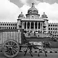 Bullock Cart And Building by Jagdish Agarwal