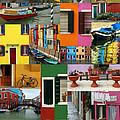 Burano Italy Collage by Mike Nellums