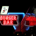 Burger Bar Neon Diner Sign At Night by Denise Beverly