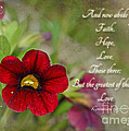 Burgundy Calibrochoa Greeting Card With Verse by Debbie Portwood