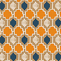 Burlap Blue And Orange Design by Linda Woods