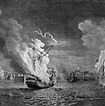 Burning Of The 'prudent' At  Louisbourg by Mary Evans Picture Library