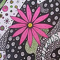 Burst Of Pink Zen Tangle by Sharon Duguay