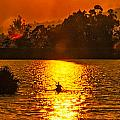 Bushfire Sunset Over The Lake by Rodney Appleby