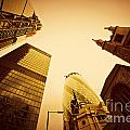 Business Architecture Skyscrapers In London Uk Golden Tint by Michal Bednarek