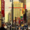 Busy Downtown Toronto Morning Cross Walk Traffic City Scape Paintings Canadian Art Carole Spandau by Carole Spandau