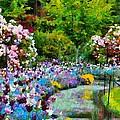 Butchart Gardens In The Rain by Mick Flynn