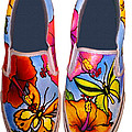 Butterfly Hibiscus Custom Painted Shoes by Adam Johnson