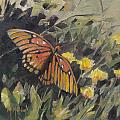 Butterfly Meadow With Yellow Flowers by Mary Hubley