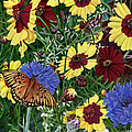Butterfly Wildflowers Garden Oil Painting Floral Green Blue Orange-2 by Walt Curlee