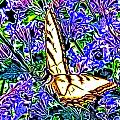 Butterfly With Purple Flowers 2 by April Patterson