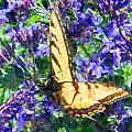 Butterfly With Purple Flowers 3 by April Patterson
