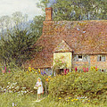 By The Cottage Gate Wc On Paper by Helen Allingham