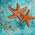 By The Sea Shore Original Coastal Painting Colorful Starfish Art By Megan Duncanson by Megan Duncanson