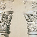 Byzantine Capitals From Columns In The Nave Of The Church Of St Demetrius In Thessalonica by Charles Felix Marie Texier