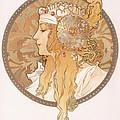 Byzantine Head Of A Blond Maiden by Alphonse Marie Mucha