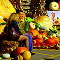 Cabbage Patch Kids - Giant Pumpkins - Marche Atwater Montreal Market Scene Art Carole Spandau by Carole Spandau