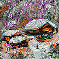 Cabins In The Snow Modern Expressionism by Ginette Callaway