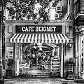 Cafe Beignet Morning Nola - Bw by Kathleen K Parker